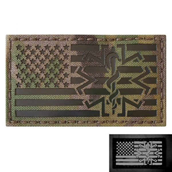 Tactical Freaky Airsoft Morale Patch 1 Multicam Infrared IR USA American Flag EMS Star of Life Medic Paramedic 3.5x2 Tactical Morale Hook-and-Loop Patch