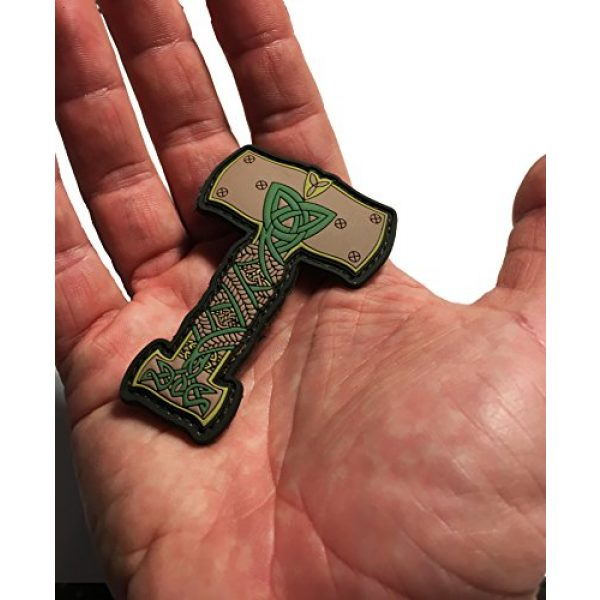 """Empire Tactical USA Airsoft Morale Patch 2 Thor's Hammer Viking Norse Ornament PVC/Rubber Morale Patch 3""""x 2.5"""""""
