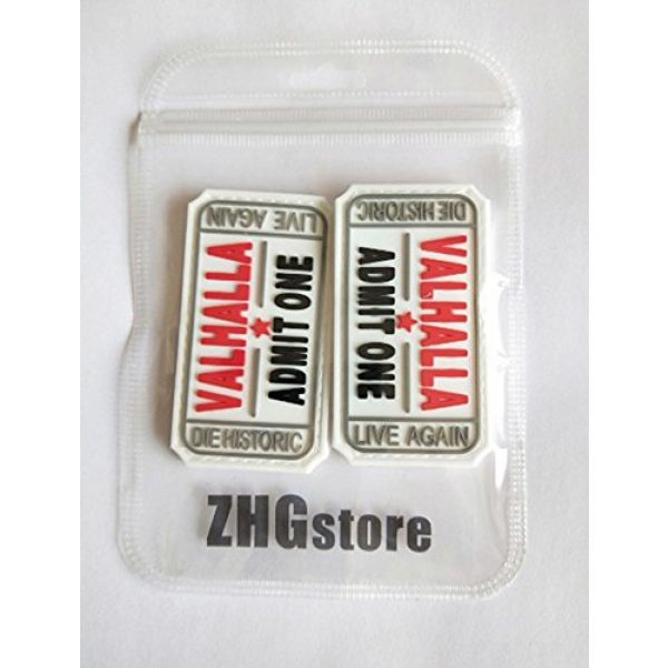 ZHG Airsoft Morale Patch 3 ZHG Bundle 2 PCS Embroidery Ticket to Valhalla Admit One Die Historic Live Again Military Tactical Morale Badge Patch (Velcro - White)
