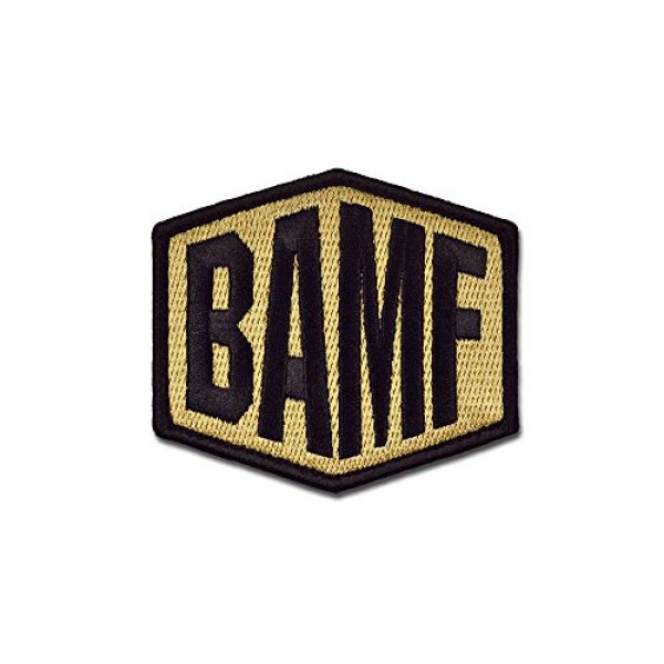 BASTION Airsoft Morale Patch 1 BASTION Morale Patches (BAMF, Colors)   3D Embroidered Patches with Hook & Loop Fastener Backing   Well-Made Clean Stitching   Military Patches Ideal for Tactical Bag, Hats & Vest (Tan)