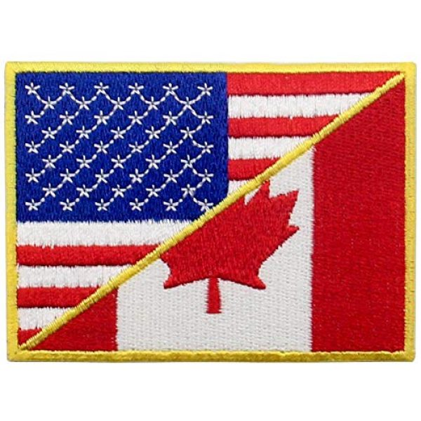EmbTao Airsoft Morale Patch 1 USA American United State Canada Flag Patch Embroidered Applique Iron On Sew On Emblem, Red & Black