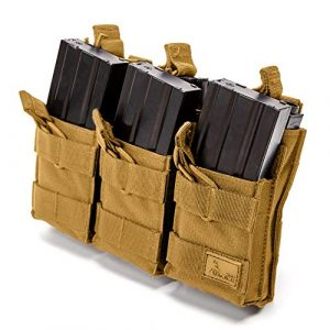 WOLF TACTICAL Tactical Pouch 1 WOLF TACTICAL Triple Stacker Rifle Mag Pouch - Open Top MOLLE Pouch for M4, M16, AK, AR15 Magazines - Attaches to Combat Vests, Rifle Cases, Backpacks - Holds 6 Mags