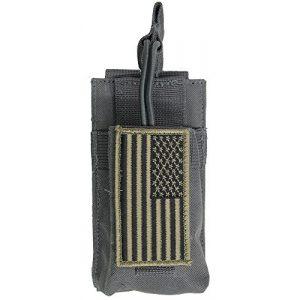 M1SURPLUS Tactical Pouch 1 M1SURPLUS MOLLE Style Grey Color Tactical Radio Pouch + Patriot Flag Morale Patch Fits BF-F8HP UV-5R UF-5RA UV-5X3 UV-82HP UV-5X BF-F8+ GT-3 GT-3TP Motorola XTS5000 HT Walkie Talkie Ham Radios