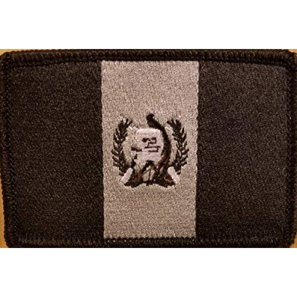 Fast Service Designs Airsoft Morale Patch 1 Guatemala Flag Embroidered Patch with Hook & Loop Morale Tactical Shoulder Emblem Black & Gray Version #6