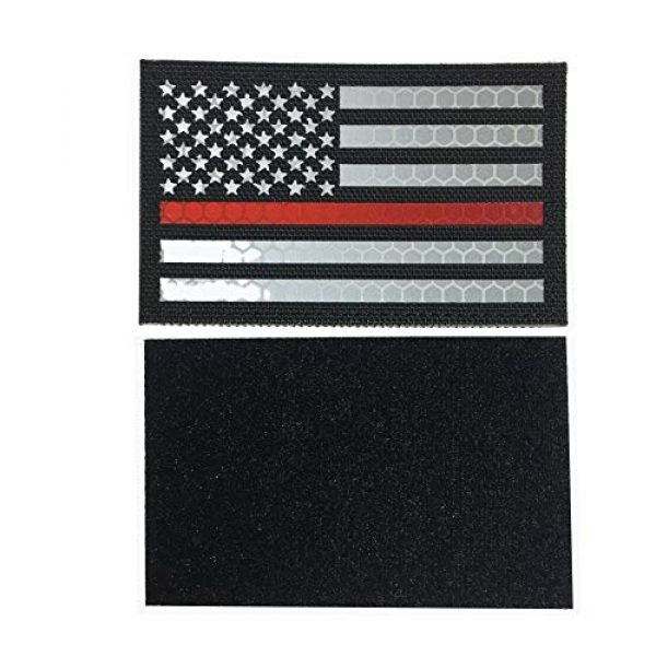 HNGKIANGHU Airsoft Morale Patch 2 Reflective Thin Red Line US USA American Flag Firefighter First Responders Patches for Search and Rescue with Hook and Loop Fastener Patch (A-1 pcs)