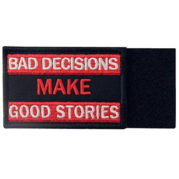 EmbTao Airsoft Morale Patch 5 Bad Decisions Make Good Stories Tactical Patch Embroidered Morale Applique Fastener Hook & Loop Emblem