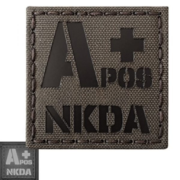 Tactical Freaky Airsoft Morale Patch 4 Ranger Green Infrared IR APOS NKDA A+ Blood Type 2x2 Tactical Morale Fastener Patch