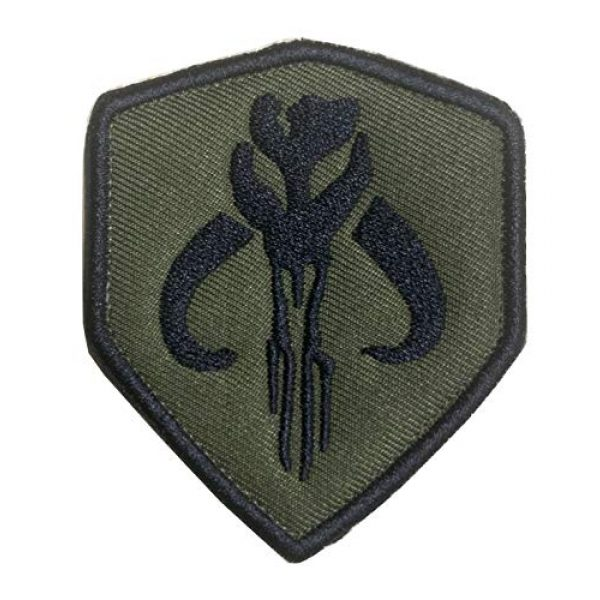 Antrix Airsoft Morale Patch 1 Movie Film Skull Mercenary Shield Bounty Hunter Military Embroidered Emblem Badge Patch Hook & Loop Tactical Patch for Backpacks Caps Jersey Jeans Jacket -Green