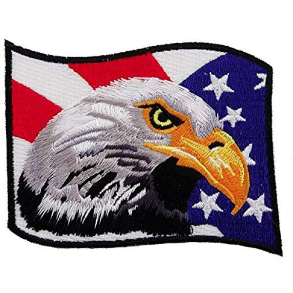 Tekserve Airsoft Morale Patch 1 American Flag Bald Eagle Embroidered Patch Patriotic Iron-On Bird Emblem