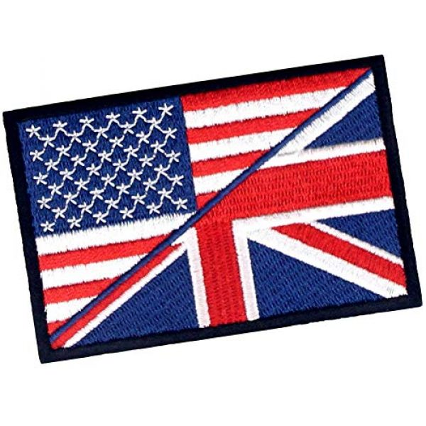 EmbTao Airsoft Morale Patch 3 USA American UK Union Jack Flag Patch Embroidered Morale Applique Iron On Sew On Emblem