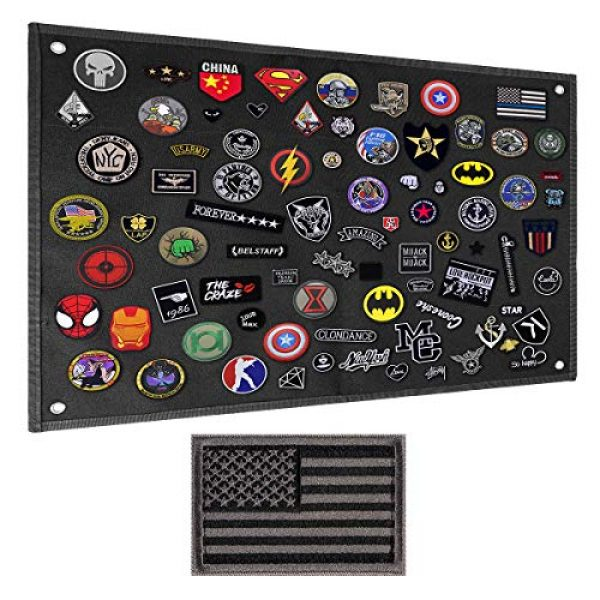IronSeals Airsoft Morale Patch 1 IronSeals Tactical Board Patch Organizer Holder Display with Loop Surface, Steel Ring and Flag Patch