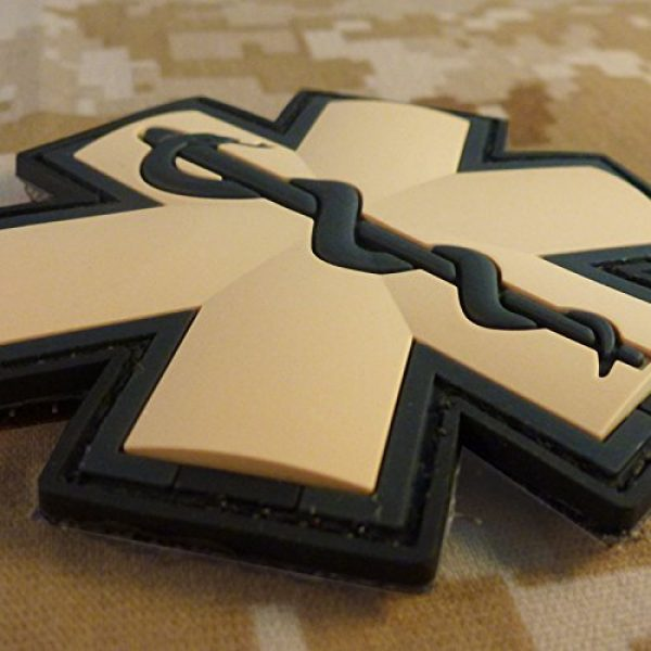 LEGEEON Airsoft Morale Patch 3 EMS EMT Medic Paramedic Star of Life AOR1 Desert DCU Arid Mud Morale PVC Fastener Patch