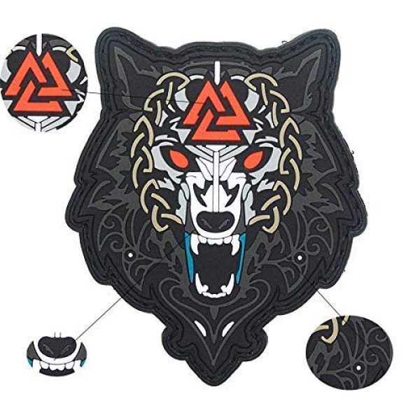King Kong Somersault Airsoft Morale Patch 3 Viking Wolf of Odin Valknut PVC Morale Tactical Badge Patch
