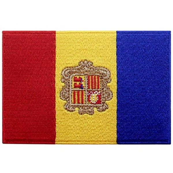 EmbTao Airsoft Morale Patch 1 EmbTao Andorra Flag Patch Embroidered National Morale Applique Iron On Sew On Andorran Emblem