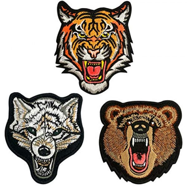 LanXin Airsoft Morale Patch 1 Tiger Bear Wolf Embroidery Patch Animal Military Morale Patches Tactical Combat Emblem Applique Embroidered Badges Hook and Loop Fasteners Backing Patches