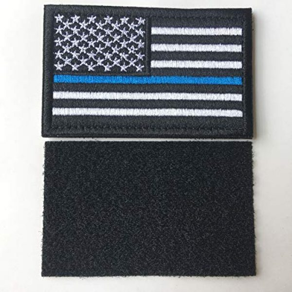 Hng Kiang Hu Airsoft Morale Patch 4 Bundle 2 Pieces-Tactical Police Law Enforcement Thin Blue Line American Flag US United States of America Military Morale Patches (Black-Blue Thin)