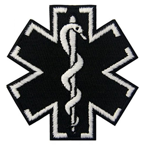 EmbTao Airsoft Morale Patch 2 EmbTao Glow in Dark ACU EMS EMT Medic Paramedic Star of Life Morale Tactical Embroidered Applique Iron On/Sew On Patch - Black & White
