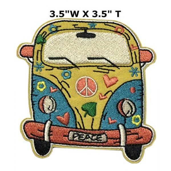 """Appalachian Spirit Airsoft Morale Patch 2 Hippie Peace Van 3.5"""" Embroidered Patch DIY Iron-on or Sew-on Decorative Vacation Souvenir Travel Appliques Retro Vintage 1970's Peace Van Weed Love Heart Dove Surf Music Festival Karma"""