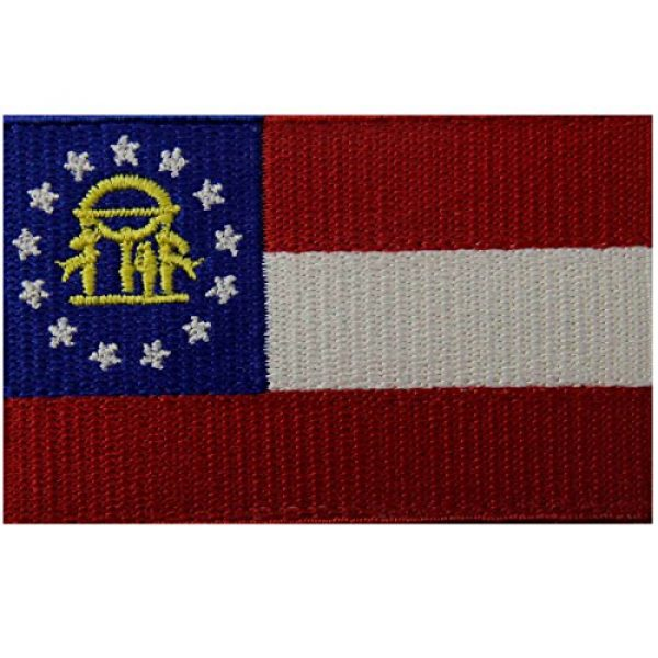 EmbTao Airsoft Morale Patch 1 Georgia State Flag Embroidered Emblem Iron On Sew On GA Patch