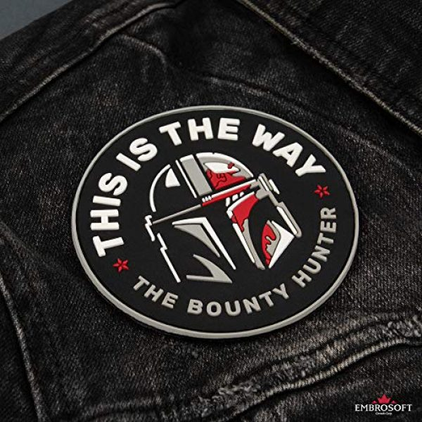 Embrosoft Airsoft Morale Patch 3 Bounty Hunter PVC Patch - This is The Way Mandalorian - Star Wars TV Series Morale Emblem - Hook/Loop Backing - Size: 3.5 x 3.5 inches