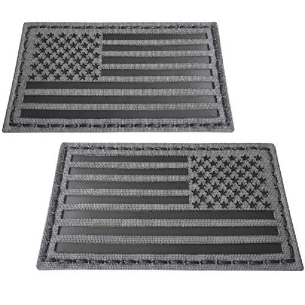 Tactical Freaky Airsoft Morale Patch 2 Tactical Freaky Wolf Gray Bundle Set of 2 pcs IR USA American Flags Forward Reversed Infrared Morale Fastener Patches