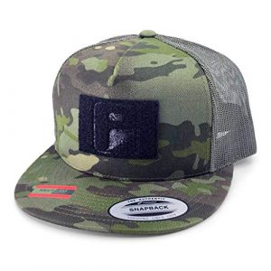 P PULLPATCH Tactical Hat 1 Pull Patch Tactical Hat | Authentic Snapback Multicam Flat Bill Trucker Cap | 2x3 in Hook and Loop Surface to Attach Morale Patches | 5 Panel | Tropical Camo and Green | Free US Flag Patch Included