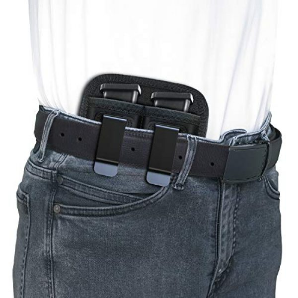 AIKATE Tactical Pouch 6 Universal Double Magazine Pouch for 9mm .40 .45 .380 .357, IWB Mag Holster Concealed Cary for Double Stack, Mag Holder for Glock 19 43 17 1911 S&W M&P, Fits Any 7 10 15 Round Clip for All Pistols Ammo
