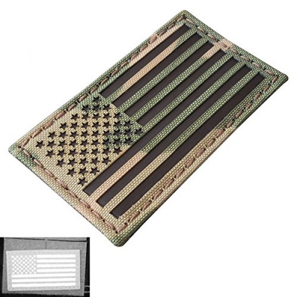 Tactical Freaky Airsoft Morale Patch 3 Multicam Infrared IR USA American Flag 3.5x2 IFF Tactical Morale Hook&Loop Patch