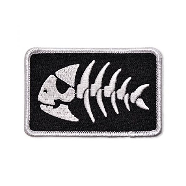 """EvolveFISH Airsoft Morale Patch 1 FSM Jolly Pirate Fish Embroidered Patch - [3.5"""" Wide]"""