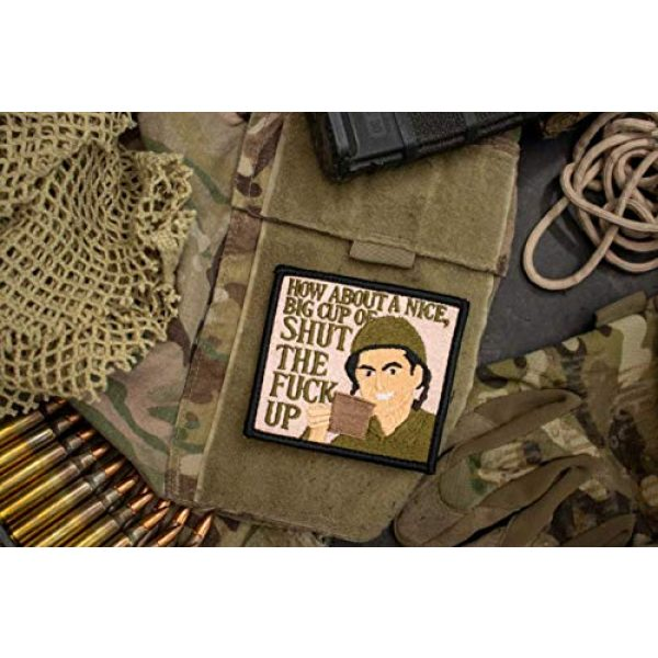 BASTION Airsoft Morale Patch 4 BASTION Morale Patches (Cup of Coffee)   3D Embroidered Patches with Hook & Loop Fastener Backing   Well-Made Clean Stitching   Military Patches Ideal for Tactical Bag, Hats & Vest