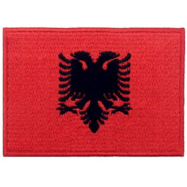 EmbTao Airsoft Morale Patch 1 EmbTao Albania Flag Patch Embroidered National Morale Applique Iron On Sew On Albanian Emblem