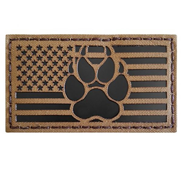 Tactical Freaky Airsoft Morale Patch 4 IR Coyote Brown Tan Infrared USA Flag K9 Dog Handler Paw K-9 Tactical Morale Hook&Loop Patch