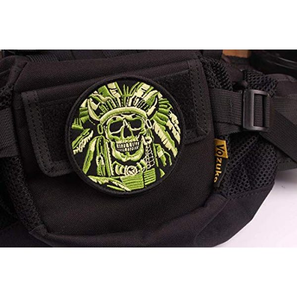 VOZUKO Airsoft Morale Patch 4 Tactical Morale Patches - Bundle 2 Pieces Full Embroidery Hook Backed With Loop Attachment