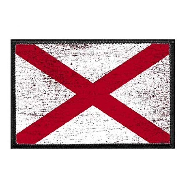 P PULLPATCH Airsoft Morale Patch 1 Alabama State Flag - Color - Distressed Morale Patch | Hook and Loop Attach for Hats, Jeans, Vest, Coat | 2x3 in | by Pull Patch