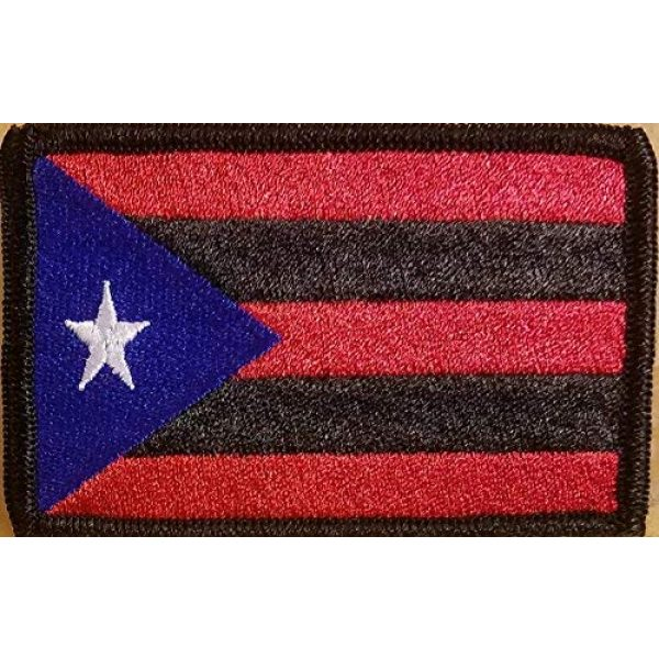 Fast Service Designs Airsoft Morale Patch 1 Puerto RICO Flag Embroidered Patch with Hook & Loop Tactical Morale Shoulder Boricua Patch Black Border #1