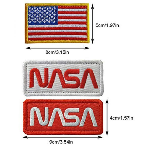 CN11011 Airsoft Morale Patch 3 6 Pieces NASA Patches Hook and Loop Backing Tactical Us Flag NASA Logo 100th Space Shuttle Mission with Sew On Morale Lot Military Embroidered Patches Tactical Flag Patch
