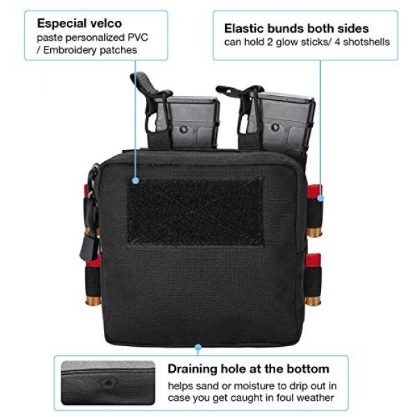 ProCase Tactical Pouch 3 ProCase Tactical Admin Molle Pouch with 2 Rifle Magazine Pouch for M4 G36 HK416 AR AK 5.56/7.62 mm Magazines -Black
