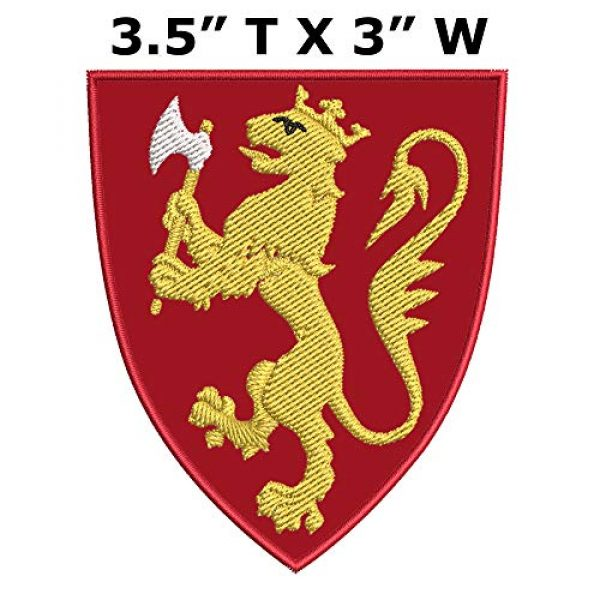 """Appalachian Spirit Airsoft Morale Patch 2 Kingdom of Norway Medieval Coat of Arms 3.5"""" Embroidered Iron or Sew-on Patch Heraldry Armorial History Family Crest"""