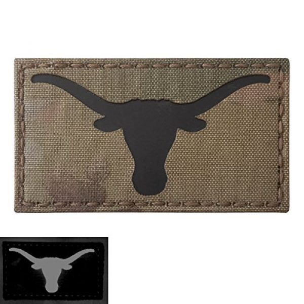 Tactical Freaky Airsoft Morale Patch 5 Texas Longhorn Multicam Infrared IR 3.5x2 IFF Tactical Morale Fastener Patch