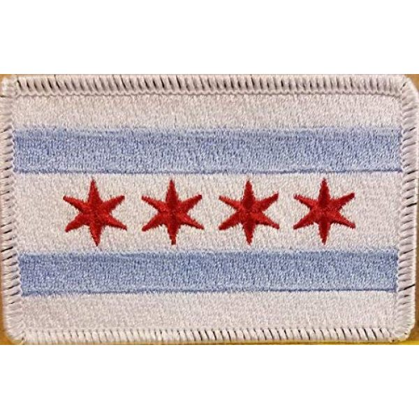 Fast Service Designs Airsoft Morale Patch 1 Chicago City Flag Patch Embroidered with Hook & Loop Tactical Travel Morale Shoulder Emblem White Border #3