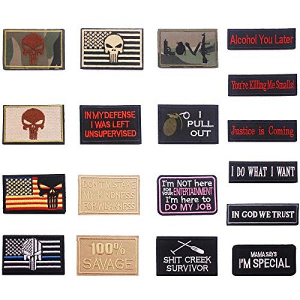 DATOUWEN ACCESSARY Airsoft Morale Patch 2 ZHDTW 18pcs Assorted Tactical Morale Patches for Army Fans Embroidery Patch for Backpack Bags Uniforms with Hook and Loop (DT018)