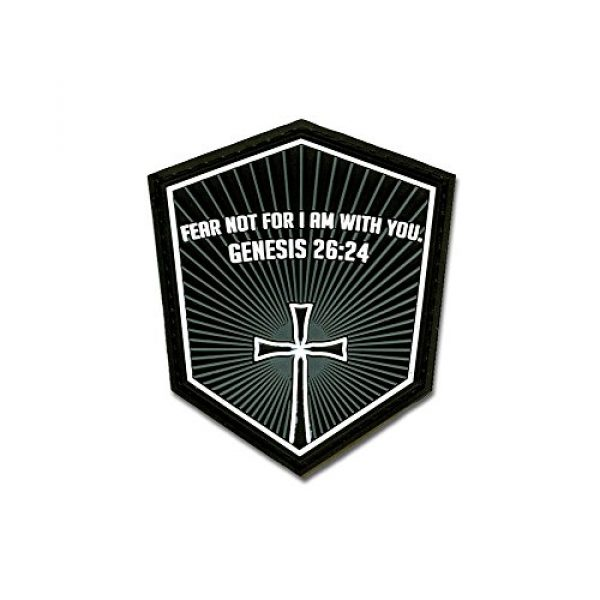 BASTION Airsoft Morale Patch 1 Bastion Tactical Combat Badge PVC Morale Patch Hook and Loop Patch - Genesis 26:24 Gray