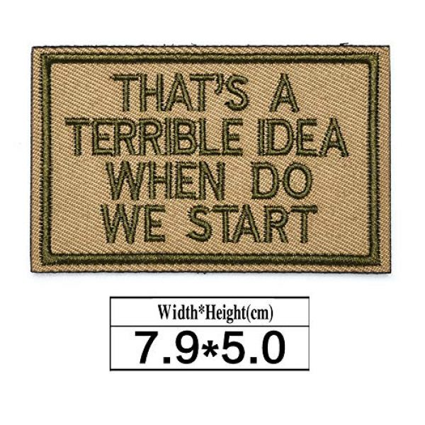 ZHDTW Airsoft Morale Patch 2 ZHDTW Tactical Morale Letter Patches That's a Terrible Idea When Do We Start Applique Patches with Hook Loop Decorative Patches for Bags, Backpacks, Clothing (DT047)