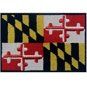 EmbTao Airsoft Morale Patch 1 Maryland State Flag Embroidered MD Patch Iron On/Sew On Emblem