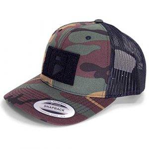 P PULLPATCH Tactical Hat 1 Pull Patch Tactical Hat | Authentic Snapback Curved Bill Trucker Cap | 2x3 in Hook and Loop Surface to Attach Morale Patches | 6 Panel | Vintage Camo and Black | Free US Flag Patch Included