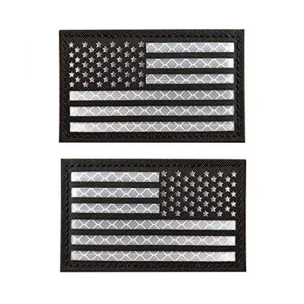 HNGKIANGHU Airsoft Morale Patch 1 2x3.14 Inch Reflective Black White US USA American Flag Morale Tactical SWAT Patches Hook-Fastener Backing 3D PVC Patch (B- 1 Left + 1 Right)
