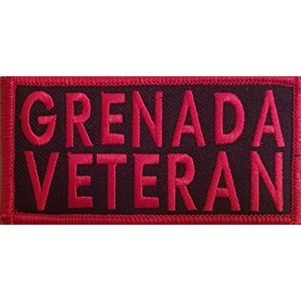 Fast Service Designs Airsoft Morale Patch 1 Grenada Veteran Patch Iron-On Embroidered Applique Patch Tactical Morale Travel Emblem Red Border