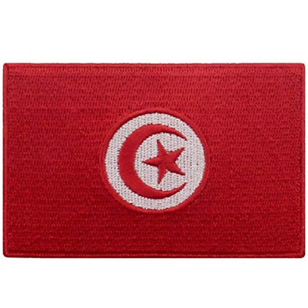EmbTao Airsoft Morale Patch 1 EmbTao Tunisia Flag Patch Embroidered National Morale Applique Iron On Sew On Tunisian Emblem