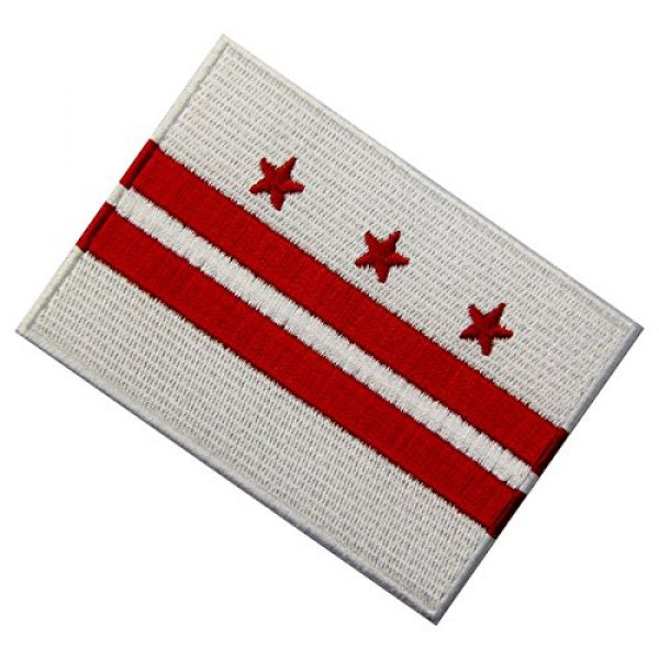 EmbTao Airsoft Morale Patch 4 Washington DC State Flag Embroidered Patch Iron On Sew On District of Columbia Emblem