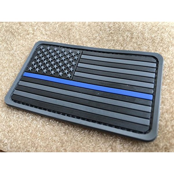 Baotu Airsoft Morale Patch 2 2 Pack 2x3.5 3D PVC Rubber Thin Blue Line US USA American Flag Patch Police Patch Hook-Fastener Backing (Gray)